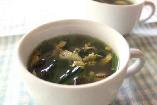 生きくらげとほうれん草のスープ